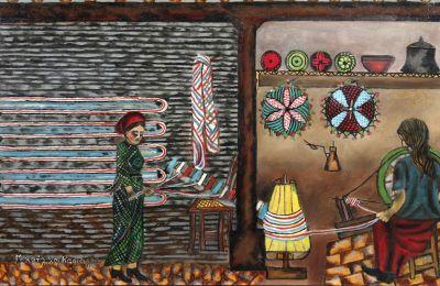 Το έργο του Μιχαήλ Κάσιαλου «Γυναίκα Σέρνει Νήματα και Γυναίκα στο Δουλάππιν» το οποίο έχει εκτιμηθεί στις €16.000 – 21.000