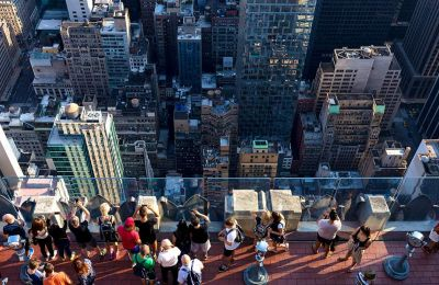 Θέα στους ουρανοξύστες του Μανχάταν από το παρατηρητήριο Top of the Rocks, στον τελευταίο όροφο του Rockefeller Centre