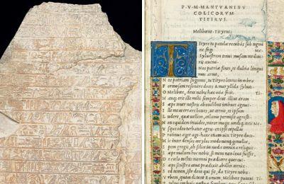 Εκθέματα όπως η αρχαία αιγυπτιακή επιγραφή του 1600 π.Χ. (αριστερά), παλαίτυπα με έργα του Βιργιλίου του 1500 (δεξιά) παρουσιάζει η Βρετανική Βιβλιοθήκη