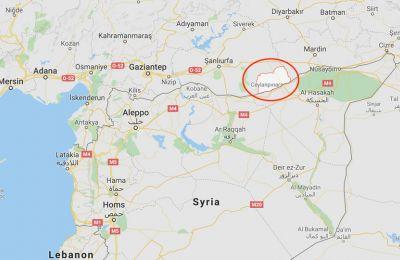 Χάρτης στον οποία φαίνεται η συνοριακή κωμόπολη στην οποία βρίσκεται η οικία που έπληξε η ρουκέτα