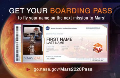 Οσοι δηλώσουν το όνομά τους για την αποστολή στον Αρη, θα λάβουν και μια αναμνηστική «κάρτα επιβίβασης»