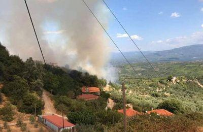 Το μέτωπο της φωτιάς βρίσκεται κοντά σε κατοικημένη περιοχή, χωρίς όμως να απειλεί σπίτια