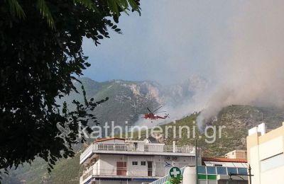 Στο σημείο επιχειρούν 108 πυροσβέστες με 23 οχήματα