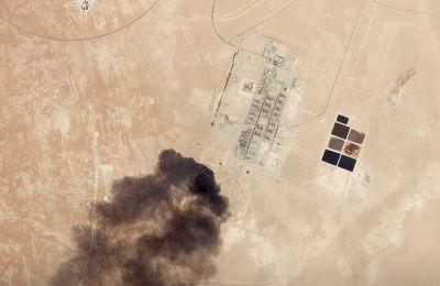 Δορυφορική εικόνα από την επίθεση drone στις πετρελαϊκές εγκαταστάσεις της Aramco, στο Χαράντ της Σαουδικής Αραβίας. Planet Labs Inc/Handout via REUTERS