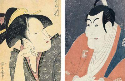 «Η στοχαστική αγάπη», ένα από τα γυναικεία πορτρέτα του Ουταμάρο (αριστερά), το εκφραστικό πρόσωπο ενός ηθοποιού του Καμπούκι του Σαράκου (μέση) και οι «Γάτες που χορεύουν» του Κουνιγιόσι (κάτω)