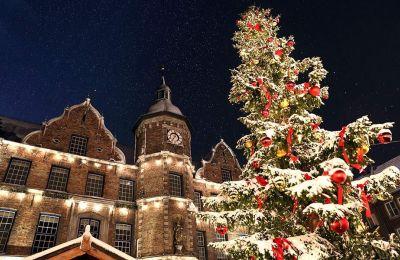 ο πανύψηλο χριστουγεννιάτικο δέντρο στην πλατεία του δημαρχείου. (Φωτογραφία: Shutterstock)