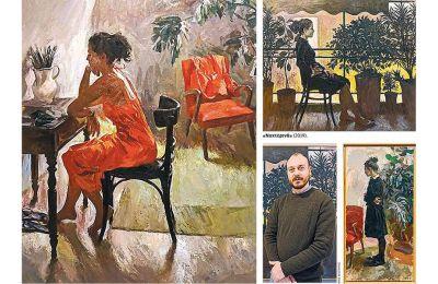 Ο Στέλιος Πετρουλάκης (δεξιά) παρουσιάζει έργα ζωγραφικής πρόσφατης εσοδείας, τα οποία είναι στο σύνολό τους παραστατικά.
