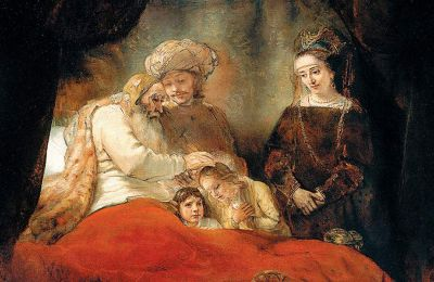 «Ο Ιακώβ ευλογεί τους γιους του Ιωσήφ» (1656). Λάδι σε καμβά, έργο διάσημο για τη «χρήση» της σκιάς και του φωτός