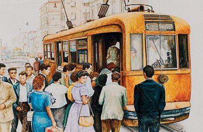 Τα έργα της ζωγράφου ανακαλούν στιγμιότυπα της δεκαετίας του '60 καταγράφοντας το πέρασμα από τον παλιό στον νέο κόσμο