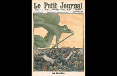 Γλαφυρή απεικόνιση της επιδημίας χολέρας στο περιοδικό Le Petit Journal. Η εικόνα κοσμεί και το εξώφυλλο του βιβλίου «Epidemics and Society» του Φρανκ Σνόουντεν