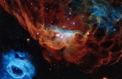 Tα νεφελώματα NGC 2014 και NGC 2020, τα οποία από κοινού απαρτίζουν μια τεράστια περιοχή δημιουργίας άστρων στο γειτονικό γαλαξία Μεγάλο Μαγγελανικό Νέφος. Πηγή φωτογραφίας «Κ» Ελλάδος.
