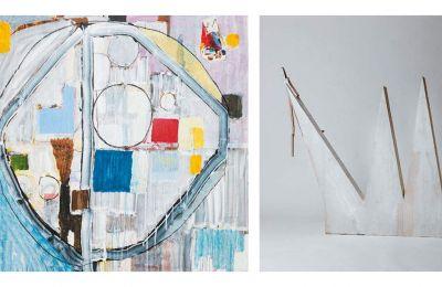 «Circus Wheel», 2020, μεικτή τεχνική σε καμβά (αριστερά). «The Blue Pierrot», 2020, μεικτή τεχνική (δεξιά)