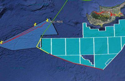 Η πορεία του Oruc Reis από την ερχόμενη Δευτέρα μέχρι τα μεσάνυχτα Τετάρτης στις παρυφές της κυπριακής ΑΟΖ στα βόρεια.