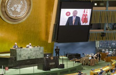 «Η Τουρκία δεν μπορεί να κλείσει τα μάτια στην παραβίαση των δικαιωμάτων της χώρας μας και των Τουρκοκυπρίων». Φωτογραφία από ΚΥΠΕ.