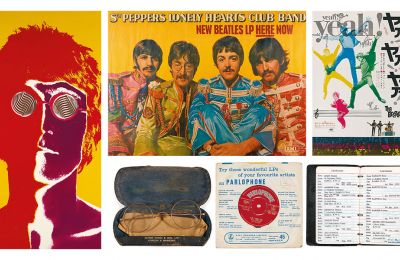Η αφίσα του Τζον Λένον, διά χειρός Ρίτσαρντ Αβεντον. Επάνω, αφίσα για την προώθηση του άλμπουμ «Sgt. Pepper's Lonely Hearts Club Band» και για την ιαπωνική έκδοση της ταινίας «A Hard day's night»