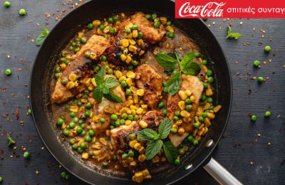 Κρεμώδες κοτόπουλο με καλαμπόκι και αρακά