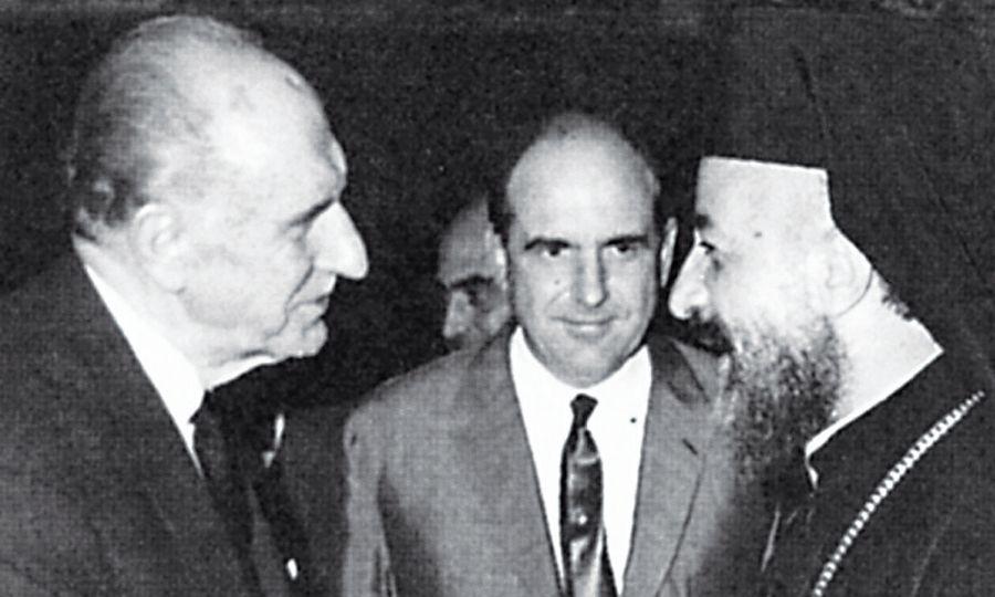 Ο πρωθυπουργός της Ελλάδας Γεώργιος Παπανδρέου και ο πρόεδρος της Κύπρου αρχιεπίσκοπος Μακάριος - Αθήνα, στις 6 Μαΐου 1965.