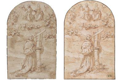 Το σχέδιο όπως τυπώθηκε στον κατάλογο της έκθεσης «Στα άδυτα της Εθνικής Πινακοθήκης. Αγνωστοι θησαυροί από τις συλλογές της». Το σχέδιο όπως βρέθηκε μετά την κλοπή στη Φλωρεντία, με τη σφραγίδα