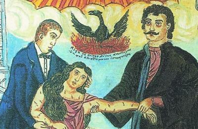 Ο Ρήγας Βελεστινλής και ο Αδαμάντιος Κοραής υποβαστάζουν την Ελλάδα. Εργο του Θεόφιλου