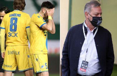 Οι παίκτες του ΑΠΟΕΛ μετά την χθεσινή ήττα και ο Πρόδρομος Πετρίδης
