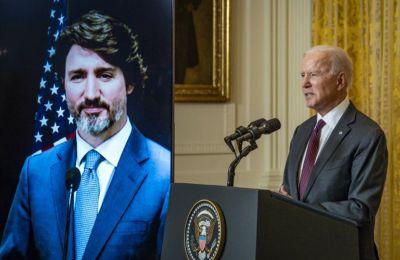 Οι πρόεδροι των ΗΠΑ και Καναδά, Τζο Μπάιντεν και Τζάστιν Τρυντώ αντιστοίχως