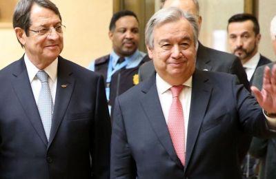 Ο ΓΓ του ΟΗΕ Αντόνιο Γκουτέρες με τον Πρόεδρο της Δημοκρατίας Νίκο Αναστασιάδη