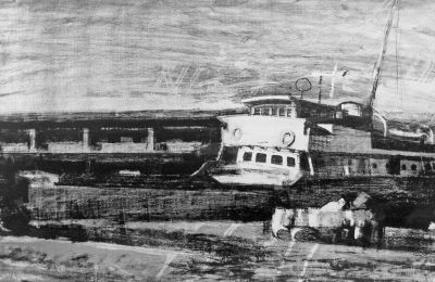 Παναγιώτης Τέτσης, Λιμάνι, ca 1970, λιθογραφία.