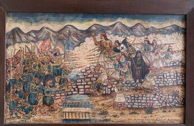 Πίνακας Μάχης Αθανάσιου Διάκου στις Θερμοπύλες (1932). Θεόφιλος Μιχαήλ. συλλογή Άγι Φιλιππίδη