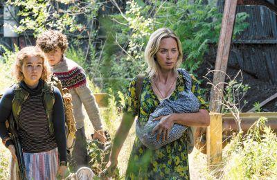 Η Εμιλι Μπλαντ μαζί με την υπόλοιπη οικογένεια παλεύουν για την επιβίωση στον στοιχειωμένο από δολοφονικά εξωγήινα όντα κόσμο της ταινίας