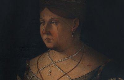 Από τη συλλογή Γιάννη Περδίου, απόδοση από άγνωστο καλλιτέχνη του πορτρέτου του Gentile Bellini Η Βασίλισσα της Κύπρου Αικατερίνη Κορνάρο, (λάδι σε ξύλο, 64 x 50,5 εκ, 14.000 - 20.000