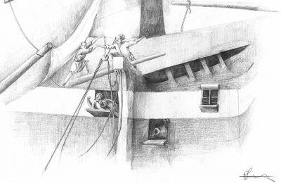 Εργο της Ελένης Καράκου (φωτ.), όπου μαζί με τον Νίκο Γιαμπάνη χρησιμοποιούν το σχέδιο για να απεικονίσουν την ένταση της μάχης, την αγωνία της καταδίωξης, τη θλίψη του αποχωρισμού