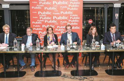 Από αριστερά: Ευάνθης Χατζηβασιλείου, Ηλίας Νικολακόπουλος, Μαργαρίτα Πουρνάρα, Παύλος Τσίμας, Βασιλική Γεωργιάδου και Αλέξης Παπαχελάς